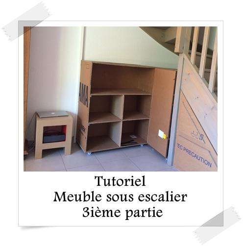 tutoriel meuble sous escalier 3i me partie lpb carton. Black Bedroom Furniture Sets. Home Design Ideas